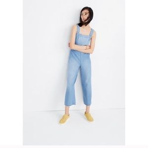 Madewell denim apron bow back jumpsuit sz 8